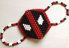 Deadpool Kandi Mask by PlurfectKreations on Etsy Kandi Mask Patterns, Pony Bead Patterns, Peyote Stitch Patterns, Perler Bead Art, Perler Beads, Pony Bead Projects, Rave Bracelets, Rave Gear, Rave Girls