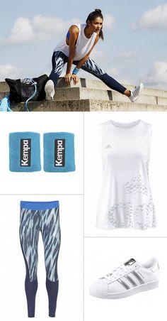 In dem perfekt aufeinander abgestimmten ADIDAS-Outfit bist du stylisch absolut im Gleichgewicht und kannst dich ganz sicher auch nicht über zu wenig Bewegungsfreiheit beklagen. Auch schick: Die praktischen Schweißbänder von Kempa nehmen den Blauton der Funktionstights auf.