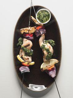 Chicken Skewers with Tarragon-Pistachio Pesto
