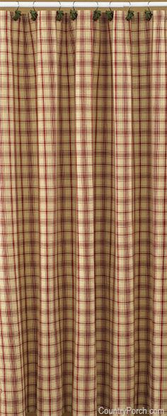 The Country Porch features the Stanton Shower Curtain from Park Designs. Primitive Shower Curtains, Country Kitchen Curtains, Country Style Curtains, Country Decor, Plaid Shower Curtain, Red Shower Curtains, Swag Curtains, Primitive Bathrooms, Hall Bathroom