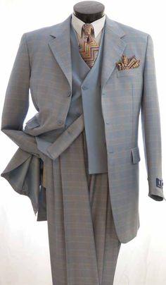 Vittorio St. Angelo Men's Fashion 3pc Suit Collection - Wide Leg Pants