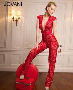 Red lace jumpsuit 94439