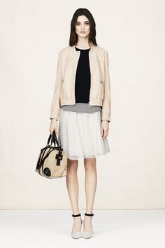 April - Look 4   Micala Bomber, Brooklyn Sweater, Gala Skirt, Campbell Rings, Jane Mayle for Club Monaco JM Bag, Lula Pump