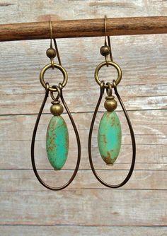 Handmade Earrings / Blue Green Turquoise Magnesite Earrings / Antique Bronze Hoops / Hoop Earrings