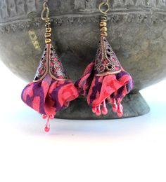 Summer statement Fuchsia blossom silk  earrings by Gilgulim, $14.80