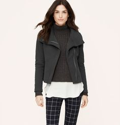 French Terry Zip Sweatshirt Jacket $98 and Modern Skinny Ankle Jeans in Plaid $69.50 | Loft