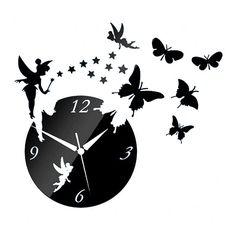 Acrylic Butterfly Creative Mirror DIY Wall Clock black