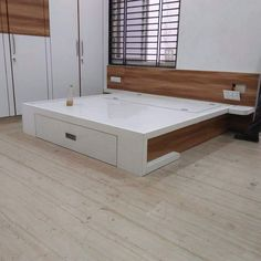 # bed front drawer white and wood contrast design and made by me # Karan jangid Bedroom Cupboard Designs, Wardrobe Design Bedroom, Bedroom Bed Design, Bedroom Furniture Design, Modern Bedroom Design, Furniture Layout, Bed Furniture, Simple Bed Designs, Double Bed Designs