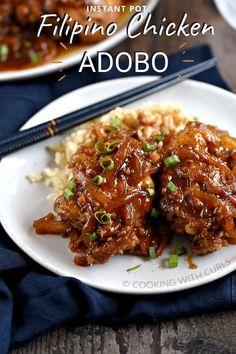 Chicken Adobo is a Filipino chicken stew that is both sweet and savory, and made in an Instant Pot for a flavorful weeknight meal that the whole family will love! Chicken Adobo Filipino, Filipino Food, Instant Pot Dinner Recipes, Instant Pot Meals, Chicken Thigh Recipes, Mediterranean Spices, Low Sodium Soy Sauce, Pressure Cooking, Weeknight Meals