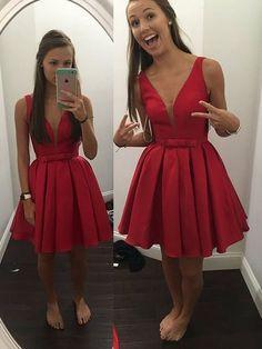 Noble Homecoming Dress,Satin Homecoming Dress,V-Neck Graduation Dress,Brief…