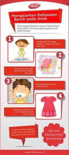 Seiring dengan bertambahnya usia, anak tentu harus belajar mandiri dalam setiap hal, termasuk menjaga kebersihan dirinya sendiri. Maka dari itu, sebagai orang tua tentu sudah selayaknya Anda mengajarkan kebiasaan baik ini padanya dan berikut ini adalah Hal-hal yang harus Anda ajarkan pada anak anda.   Sumber : http://www.lifebuoy.co.id/