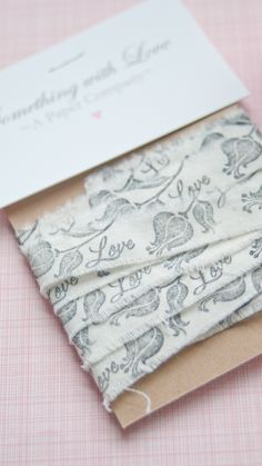 """Hand-stamped """"Love"""" Ribbon - Personalized Ribbon www.somethingwithlove.etsy.com www.somethingwithlove.com"""