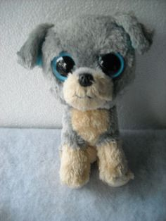 "Ty Big Eyes  Beanie Baby Puppy Dog Toy Plush  Boo SCRAPS Rare 6"" Gray/Tan NT #Ty"