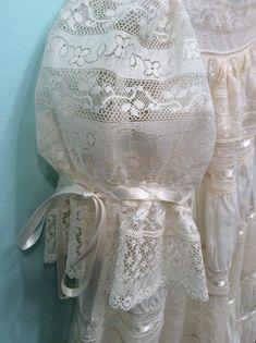 Beautiful heirloom lace dress by Mela Wilson to view more visit my Facebook Mela Wilson Heirloom Children's Clothing