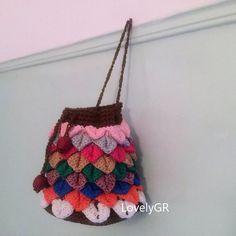 Women Girls Mini Crochet Hand Bag Multicolored Crocodile Stitch Bags&Purses
