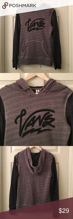 VANS Black Gray Sweater Hoodie pullover pocket Top Signature classic VANS logo pocket hoodie is a Size Small💕❤️💕Yes! This top has a hood attached💕❤️💕This is so very soft💕❤️💕Size S💕❤️💕Good used Condition 💕 ❤️💕HAPPY POSHING MY FRIENDS💕❤️💕 Vans Tops Sweatshirts & Hoodies