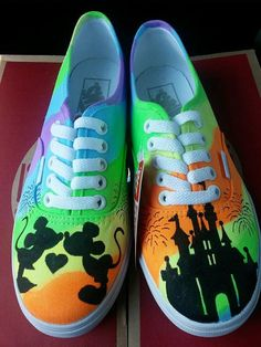 Mickey and Minnie Mouse Custom Painted Hand Made Shoes - Disney Castle Shoes -VANS CONVERSE TOMS - Custom Mickey Mouse Shoes
