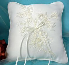 Floral Embroidered Organza Ring Pillow