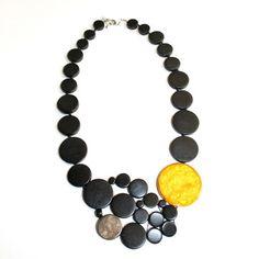 Sylca Designs: Flat Circle Necklace Black