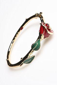 Kidada Gold Plated Beauty & The Beast Rose Enamel Bangle | Disney Couture Jewelry