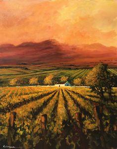 Autumn Vineyards at Sunset by Mauro Chiarla | Landscape Artwork | Fine Art Portfolio