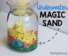 Underwater Magic Sand Experiment Science Projects For Preschoolers, Easy Science Projects, Science Activities For Kids, Preschool Science, Teaching Science, Stem Activities, Science Week, Kid Science, Preschool Ideas
