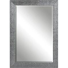 "Uttermost 42"" x 30"" x 1"" Tarek Wooden Frame Mirror, Silver/Light Gray"