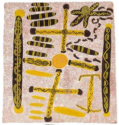 UTA UTA (TJANGALA) (circa 1926-1990) -  Big Corroboree with Water Dreaming Tjuringas (1972) -  synthetic polymer paint on board  66 x 63cm