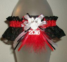 Minnie Mouse Disney Red Silver and Black Lace Rhinestone Sparkle Glitz Glitter Feather Fur 2016 or Wedding Garter