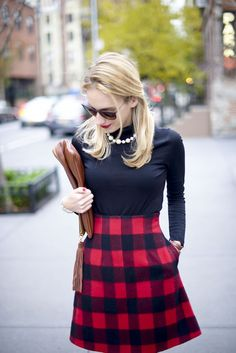 Preppy Plaid Holiday Outfit - Katie's Bliss