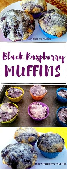Black Raspberries remind me of growing up and spending so much time with Gram. picking the berries, then she'd bake pies. I just happened to have a bag in my freezer and thought using them in muffins sounded so good and they were. My family loved them. Yummy Treats, Delicious Desserts, Sweet Treats, Dessert Recipes, Breakfast Recipes, Raspberry Muffins, Raspberry Cake, Black Raspberry Recipes, Raspberry Ideas