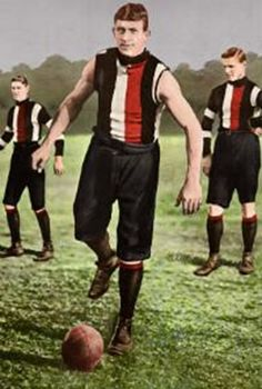 Vic Cumberland. Played 1898-1920 for Melbourne (50 games), Collegians, Auckland Imperial, Sturt, St Kilda (98 games). Premiership player 1900. Magarey medal 1911. In World War I he was wounded three times. The oldest player to ever play VFL football at 43 years of age.