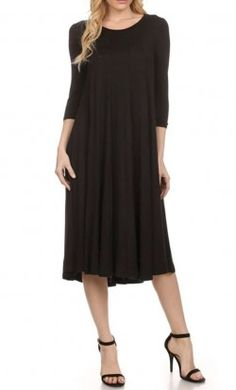 Metilda 3 4 sleeve solid colored A-line midi dress in Black. Modest ca5609515