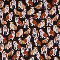 black cute bulldog dog animal fabric by Timeless Treasures  4