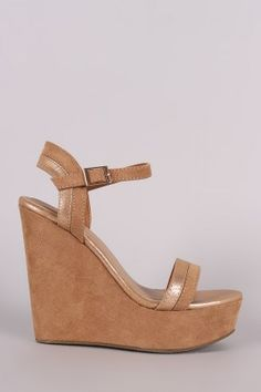 bf0840eab5b7 Bamboo Two Tone Ankle Strap Platform Wedge Fashion Outfits