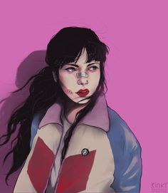 """[Image: A portrait of Kate Bishop, a bandage over her nose and a cut on her cheek.  kinkypoptarte:  """"kate bishop, again. she's too precious not to draw (´・ω・`)  """""""