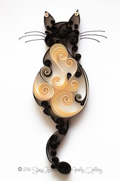 Quilled Scrollwork Cat Series
