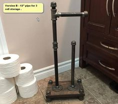 4 roll Industrial Style toilet paper holder - toilet paper stand - retro toilet paper holder - **NEW** Now offering different pipe finishes to accent any homes decor. Any pipe on any listing in - Pipe Furniture, Industrial Furniture, Industrial Style, Industrial Pipe, Industrial Bathroom, Rustic Bathrooms, Toilet Paper Stand, Free Standing Toilet Paper Holder, Pipe Decor