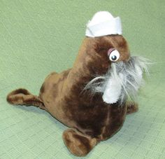 "Vintage WONDER TOYS WALRUS Brown White Beard Tusks Felt Cap 11"" Tall Plush Toy #WonderToys"