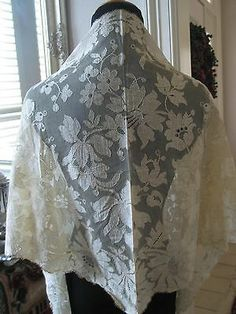 Vintage Antique Blonde Lace Silk Wedding Bridal Shawl Veil Wrap Chantilly | eBay