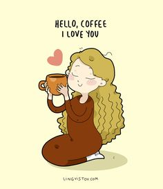 Except for the hair , this is soooooo me ! Coffee Girl, I Love Coffee, My Coffee, Funny Cartoons, Funny Comics, Coffee Jokes, Coffee Sayings, Coffee Doodle, Coffee Presentation