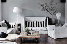 Living room ideas   Gray, black and white