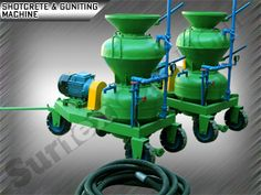 The machine works on a dry mix principle. The material is duly filled into the feeding hopper from where it falls into the chamber of revolving rotor. The mix is then transported in a continuous process to the air chamber, from there it is blown by the compressed air stream through the hose to the spraying nozzle, and to the application area respectively. Water is added to the dry concrete in the nozzle at the end of the conveying hose pipe.  Guniting Machines Manufactures