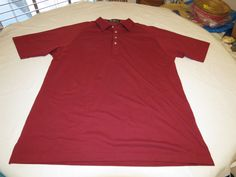 Mens Alan Stuart XL dark red burgandy short sleeve polo shirt casual EUC@ #AlanStuart #ButtonFront