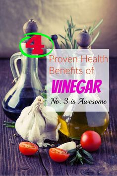 4 Proven Health Benefits of Vinegar (No. 3 is Awesome) Adding vinegar to your diet could control your appetite and keep you from mindlessly snacking on potato chips between meals, in addition to lowering your risk for heart disease and diabetes.