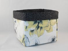 Black, Gray, Yellow and White Fabric Basket For Storage Or Gift Giving