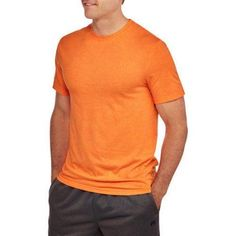 Athletic Works Men's Active Tee, Size: Medium, Orange