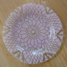 Pastel Pink Dessert Plate Jacquie Kay Doily Pattern Frosted