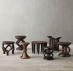 Carved-Wood African Stool Collection