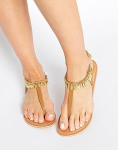 Image 1 ofASOS FLEETY Leather Feather Charm Anklet Sandals